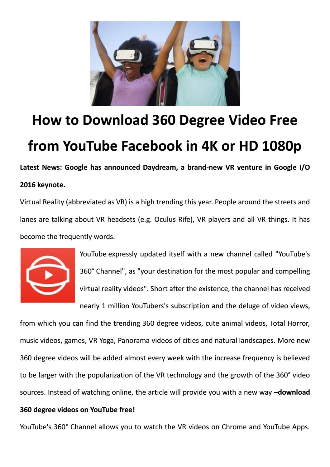 360 degree vr video youtube channel free download by