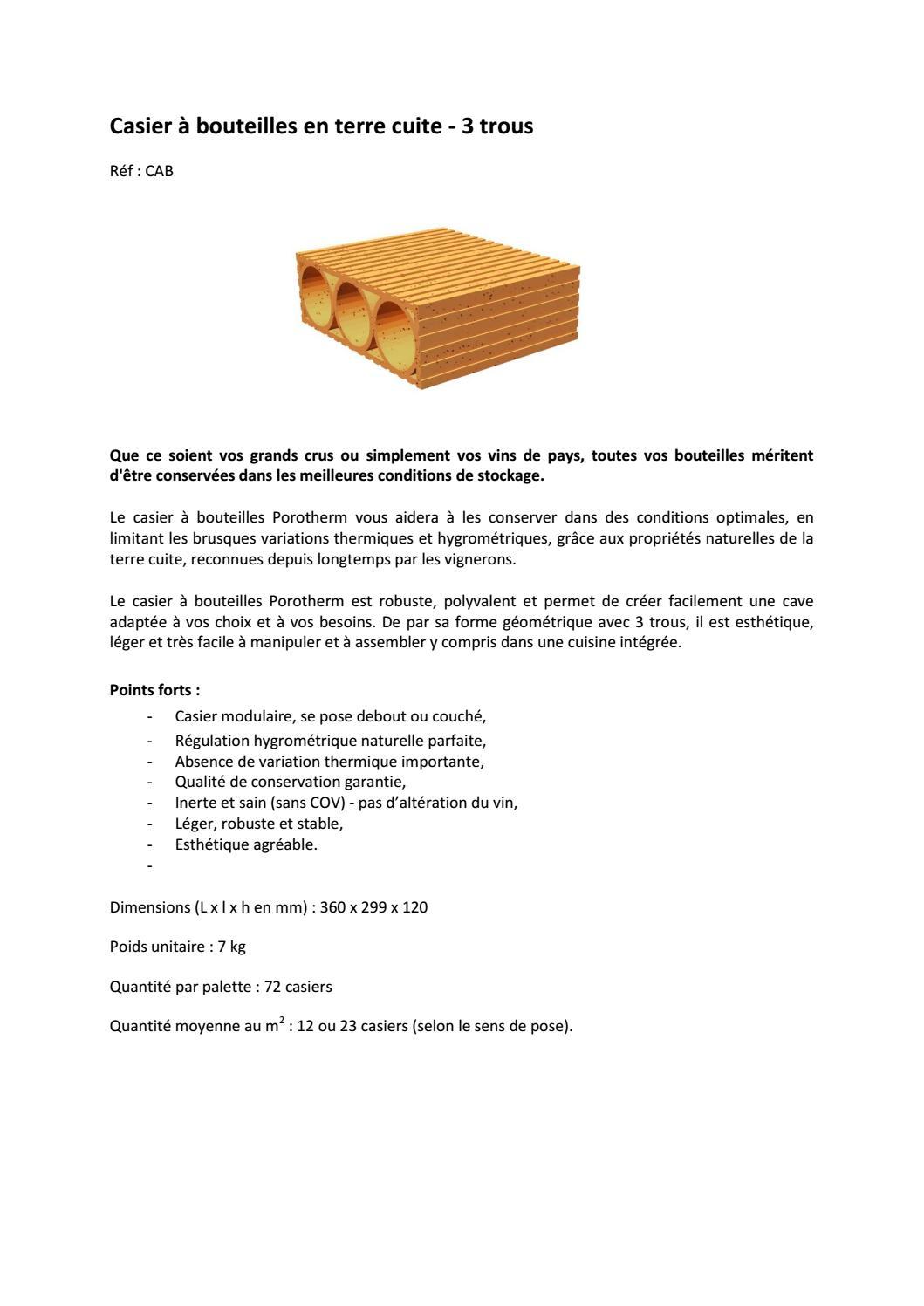 Fiche produit casier bouteille 3 trous porotherm by wienerberger ag issuu - Casier bouteille terre cuite ...