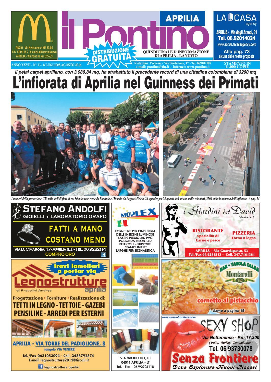 new product 63eeb 8504e Il Pontino Aprilia - Anno XXVII - N. 13 - 8 Luglio 8 Agosto 2016 by Il  Pontino Il Litorale - issuu