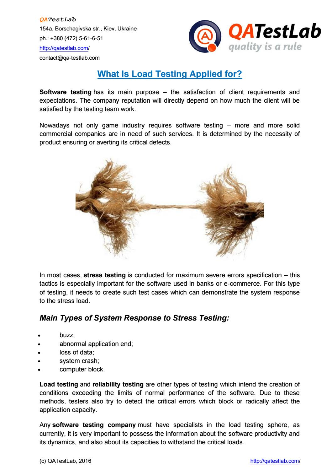 What is Load Testing Applied for? by QATestLab - issuu