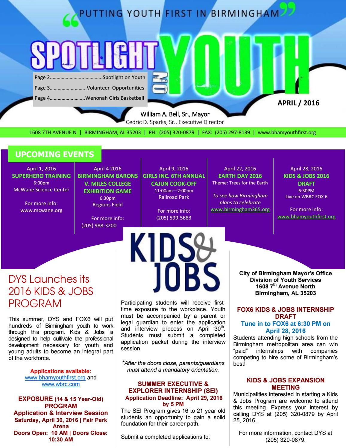 Spotlight On Youth April 2016 By City Of Birmingham Mayor S Office Division Of Youth Services Issuu