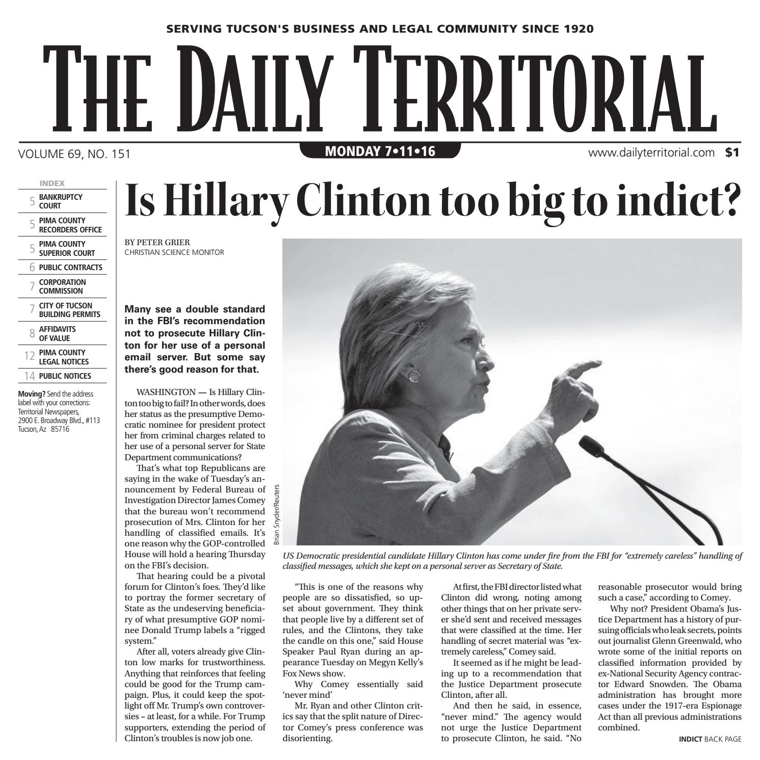 7 11 2016 The Daily Territorial By Wick Communications Issuu
