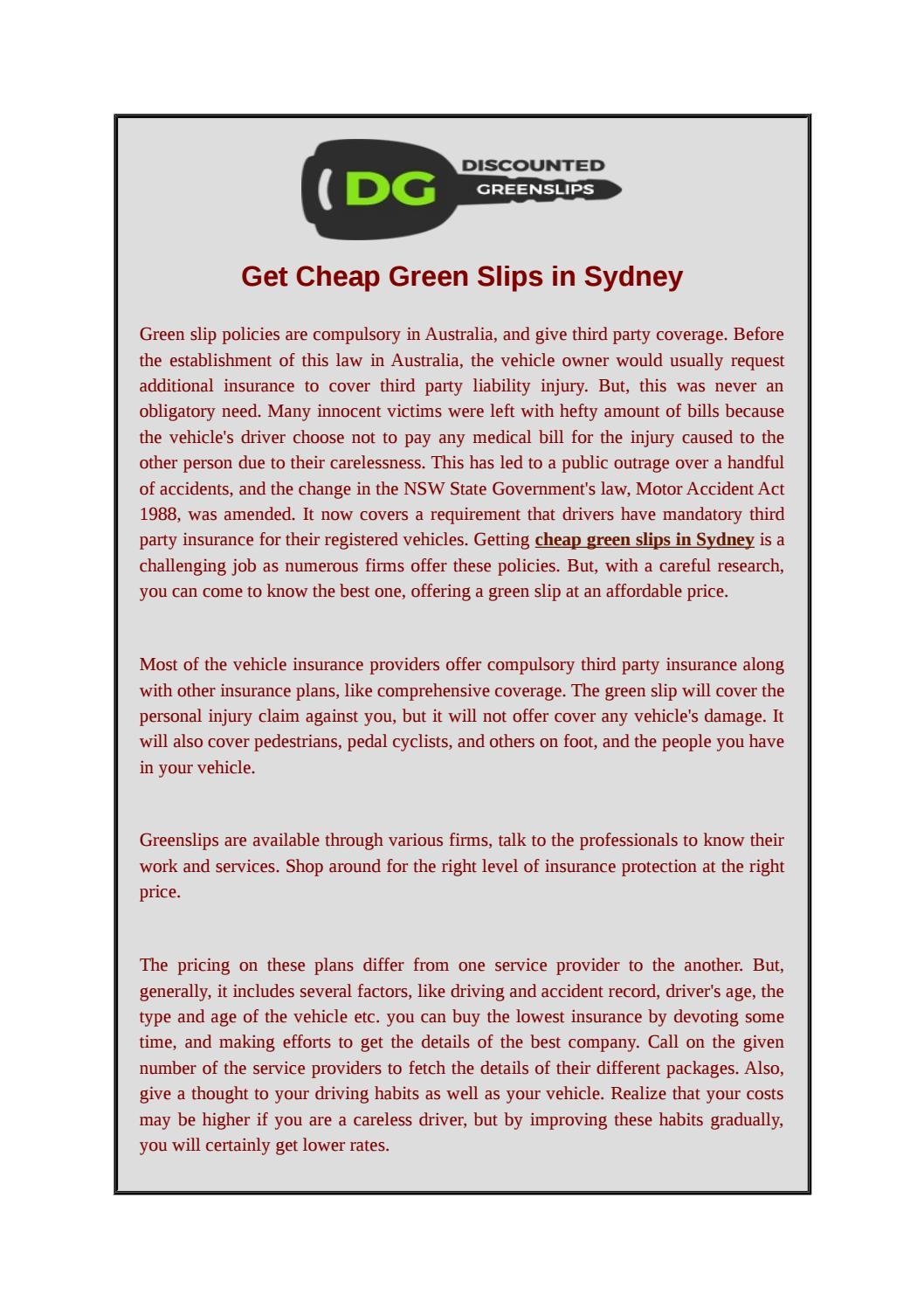 Get Cheap Green Slips in Sydney by discountedgreenslips - issuu