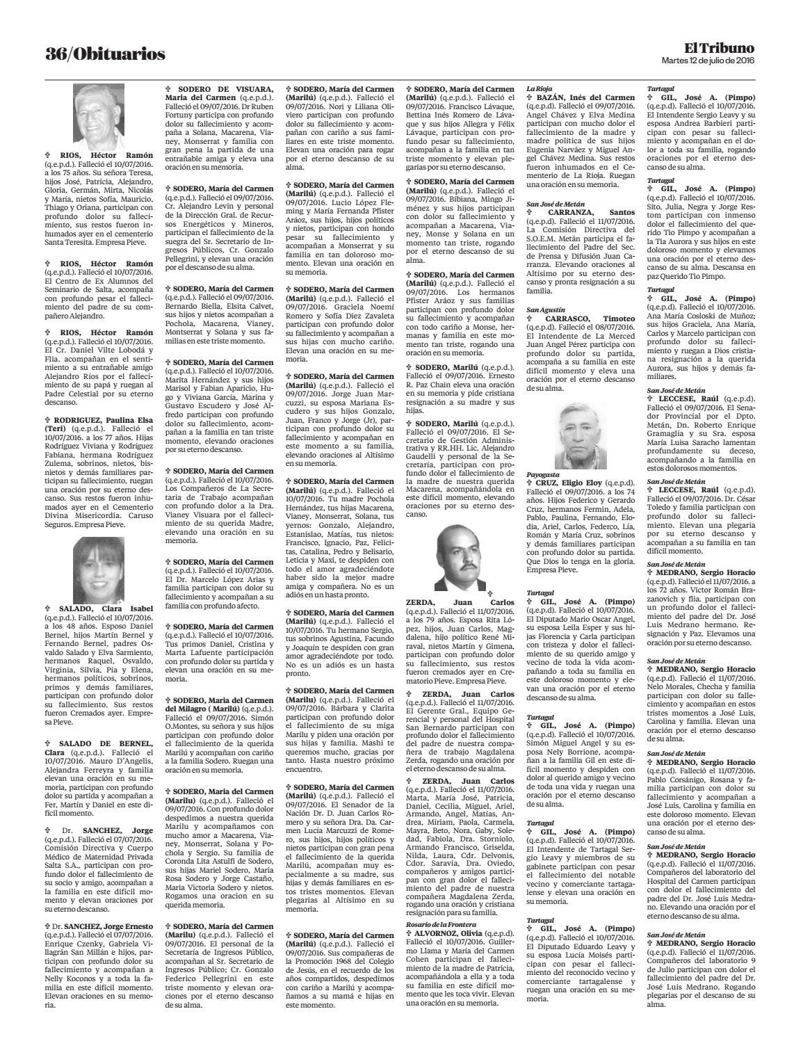 12 de julio de 2016 obituarios el tribuno by El Tribuno - issuu