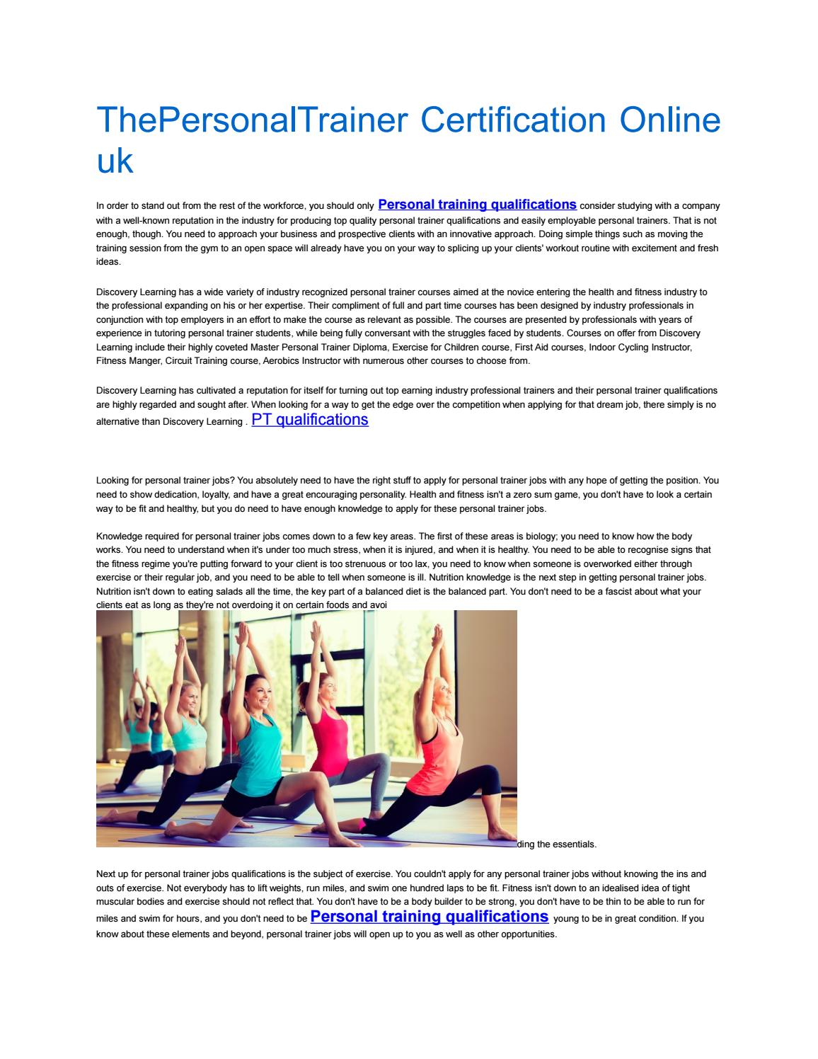 Thepersonal Trainer Certification Online Uk By Personal Training
