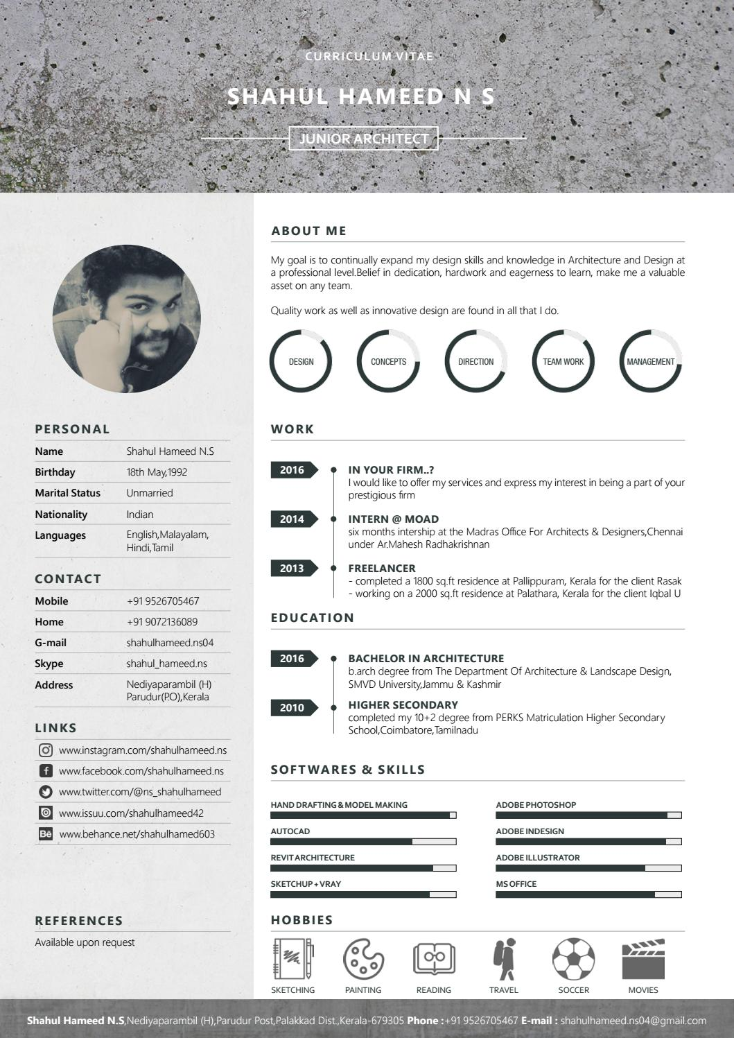 architectural resume by shahul hameed