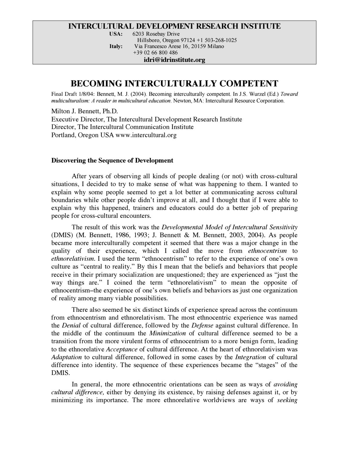 towards ethnorelativism - milton j bennett essay Expat intercultural sensitivity development - bennett's scale of ethnorelativism expat intercultural sensitivity development - bennett's scale of ethnorelativism.