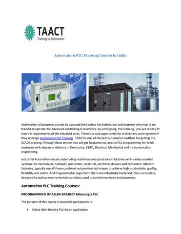 Automation plc training course by Taact Training in automation - issuu