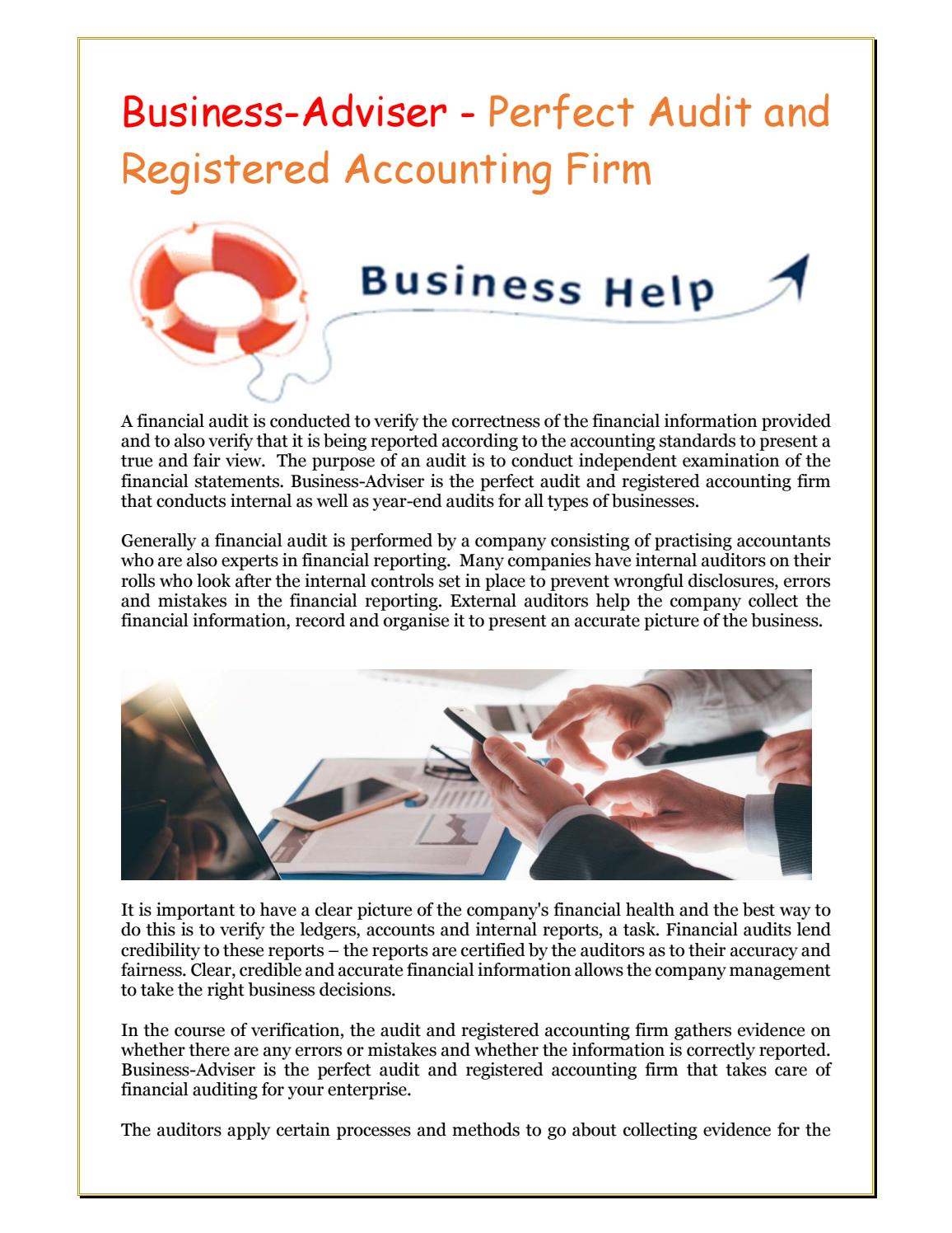 Business adviser perfect audit and registered accounting