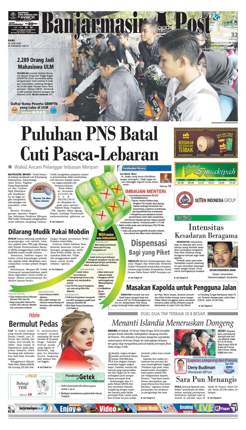 Banjarmasin Post Rabu 29 Juni 2016 By Issuu Kue Ulat Sutra Febby Cookies Pal