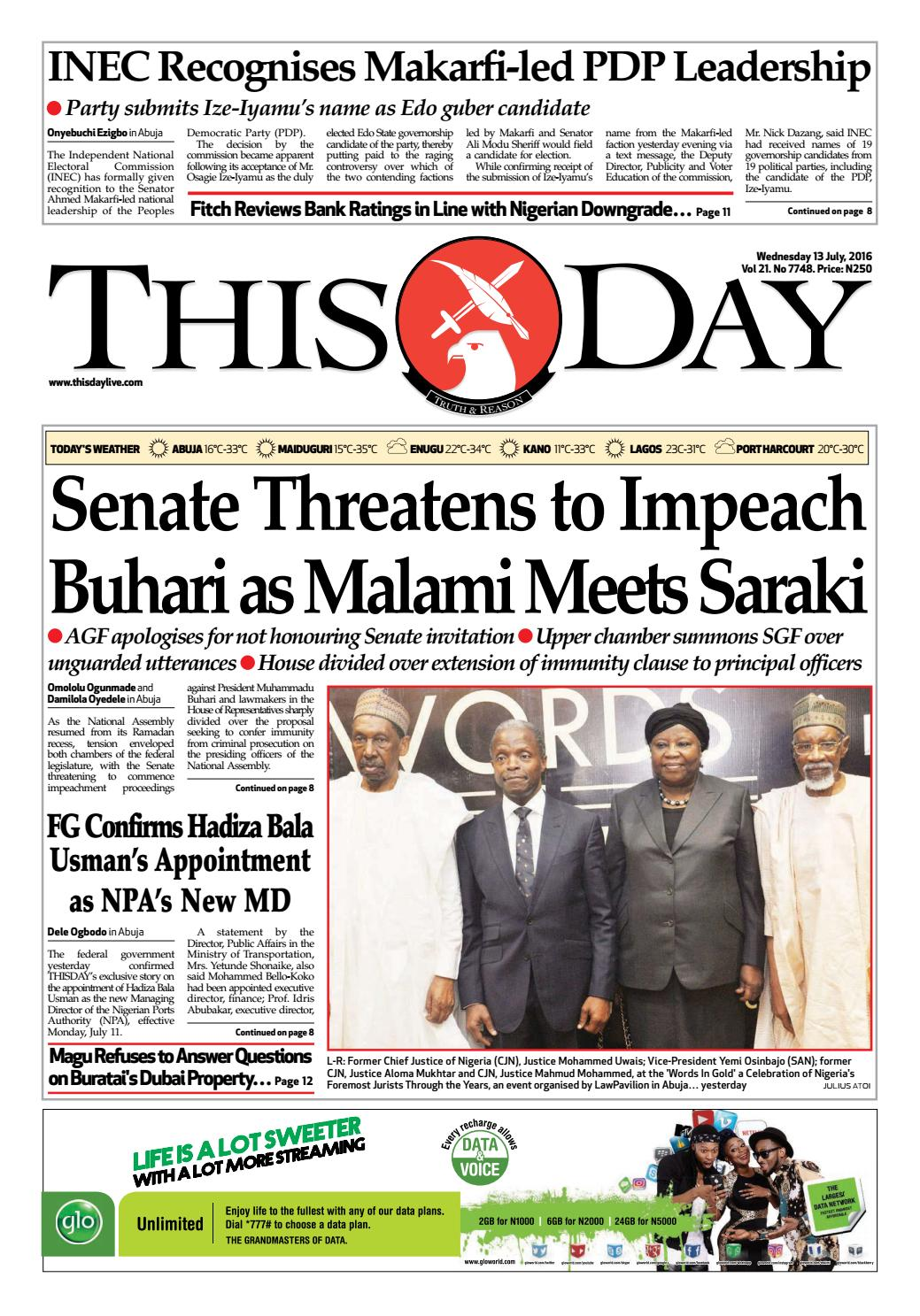 wednesday 13th july 2016 by thisday newspapers ltd issuu - Edekors De