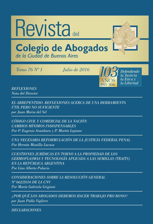 Revista número 76 - Tomo 1 by Revista del Colegio de Abogados CACBA ...