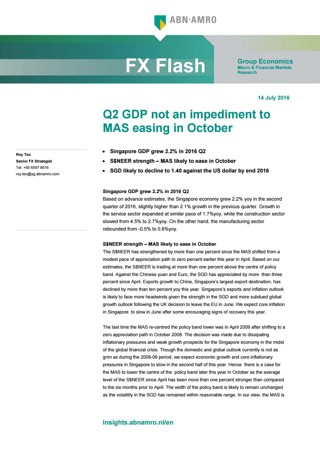 Fx flash q2 gdp not an impediment to mas easing 14 july 2016