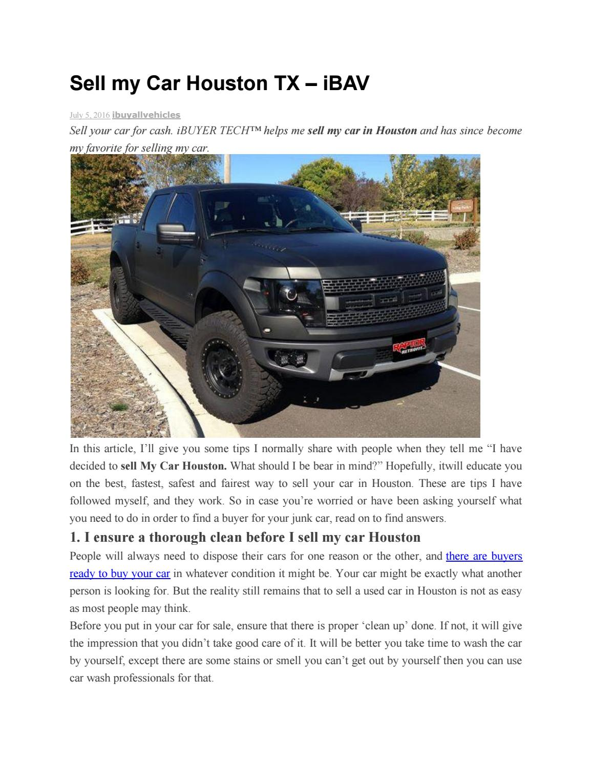 Sell my car houston tx by Ibuyall Vehicles - issuu