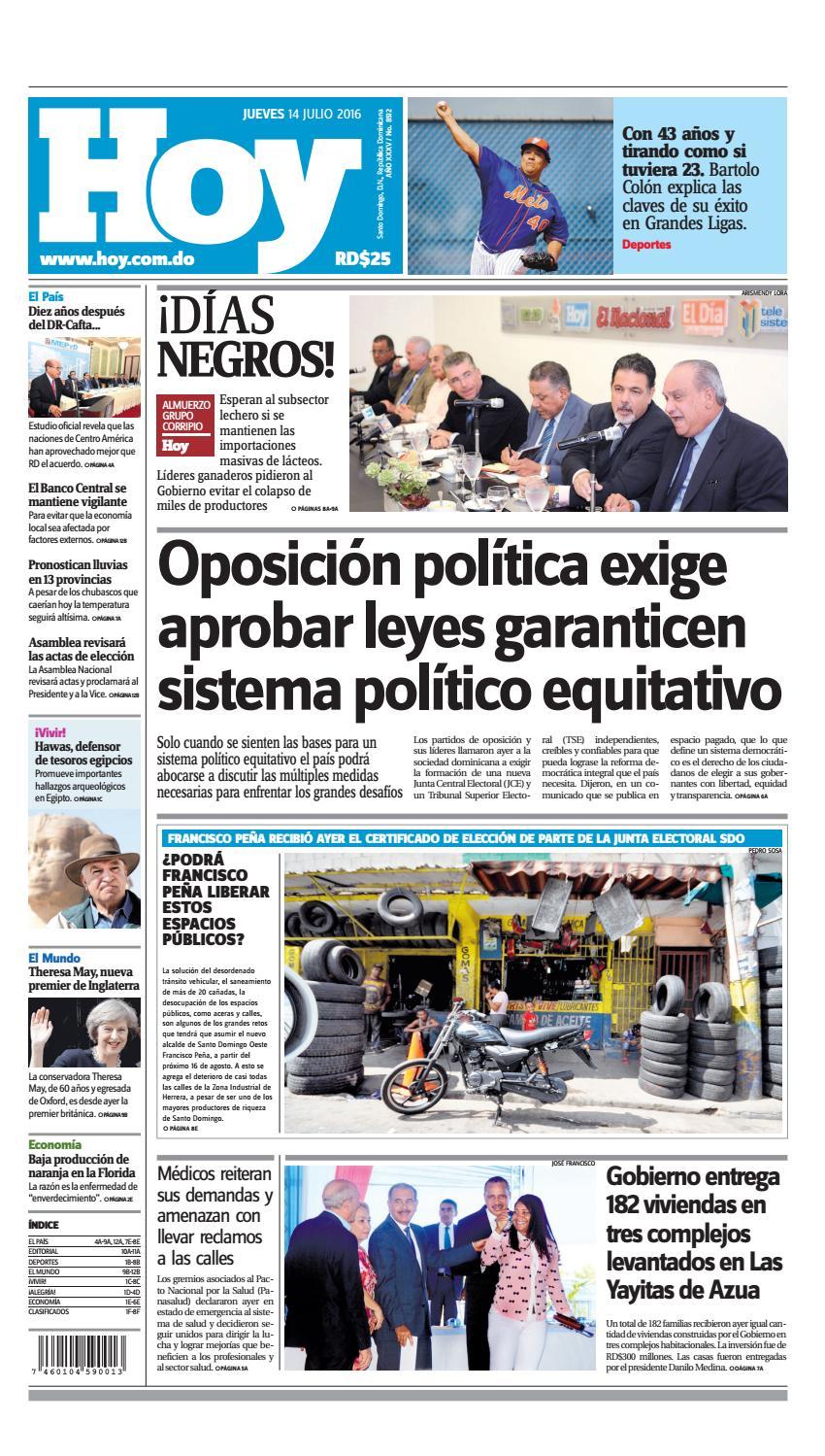 Edici N Impresa Hoy Jueves 14 De Julio 2016 By Periodico Hoy  # Muebles Tati Cochabamba