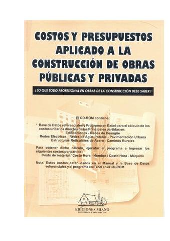 costos y presupuestos aplicado a la construcción de obras públicas y