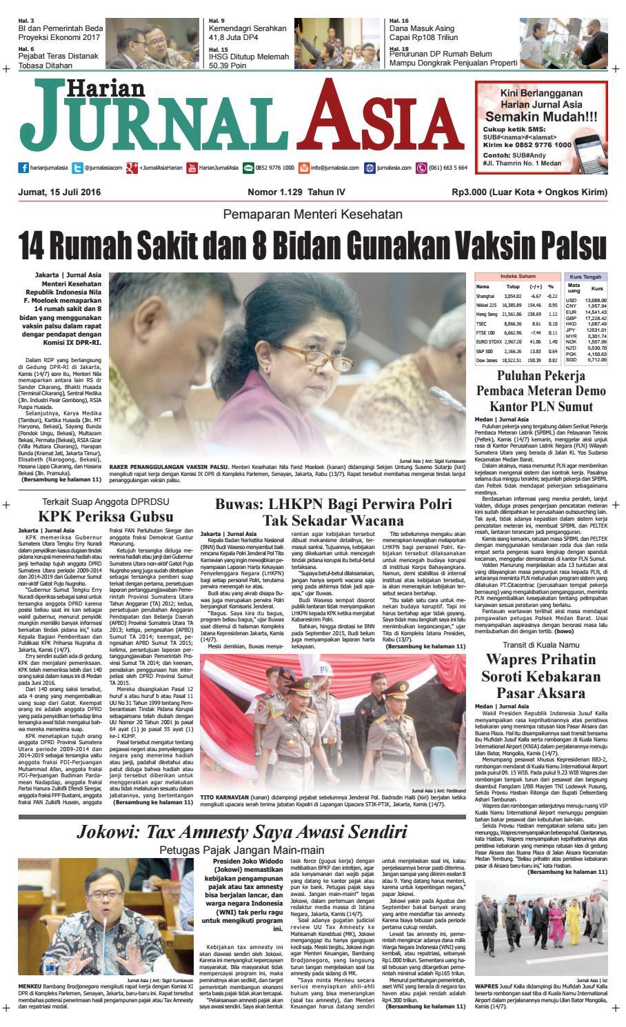 Harian Jurnal Asia Edisi Jumat 15 Juli 2016 By 95cm Nomor Tekstur Rumah Kantor Kamar Kost Hotel Kuningan No 1 Medan Issuu