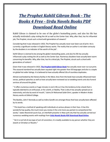 The Prophet Kahlil Gibran Book The Books 4 Free Urdu Novels