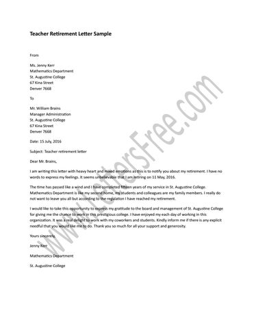 Page 1 Teacher Retirement Letter Sample