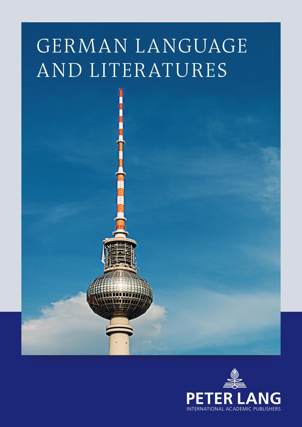 German Language And Literatures Catalogue 2016 By Peter Lang