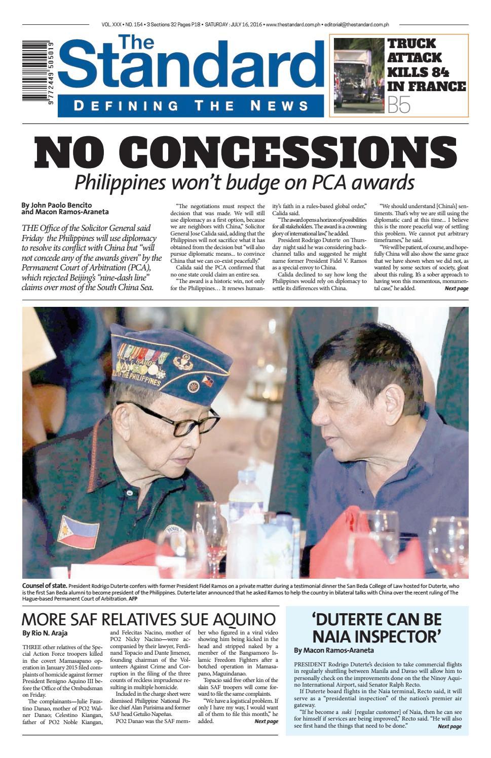 The Standard 2016 July 16 Saturday by Manila Standard