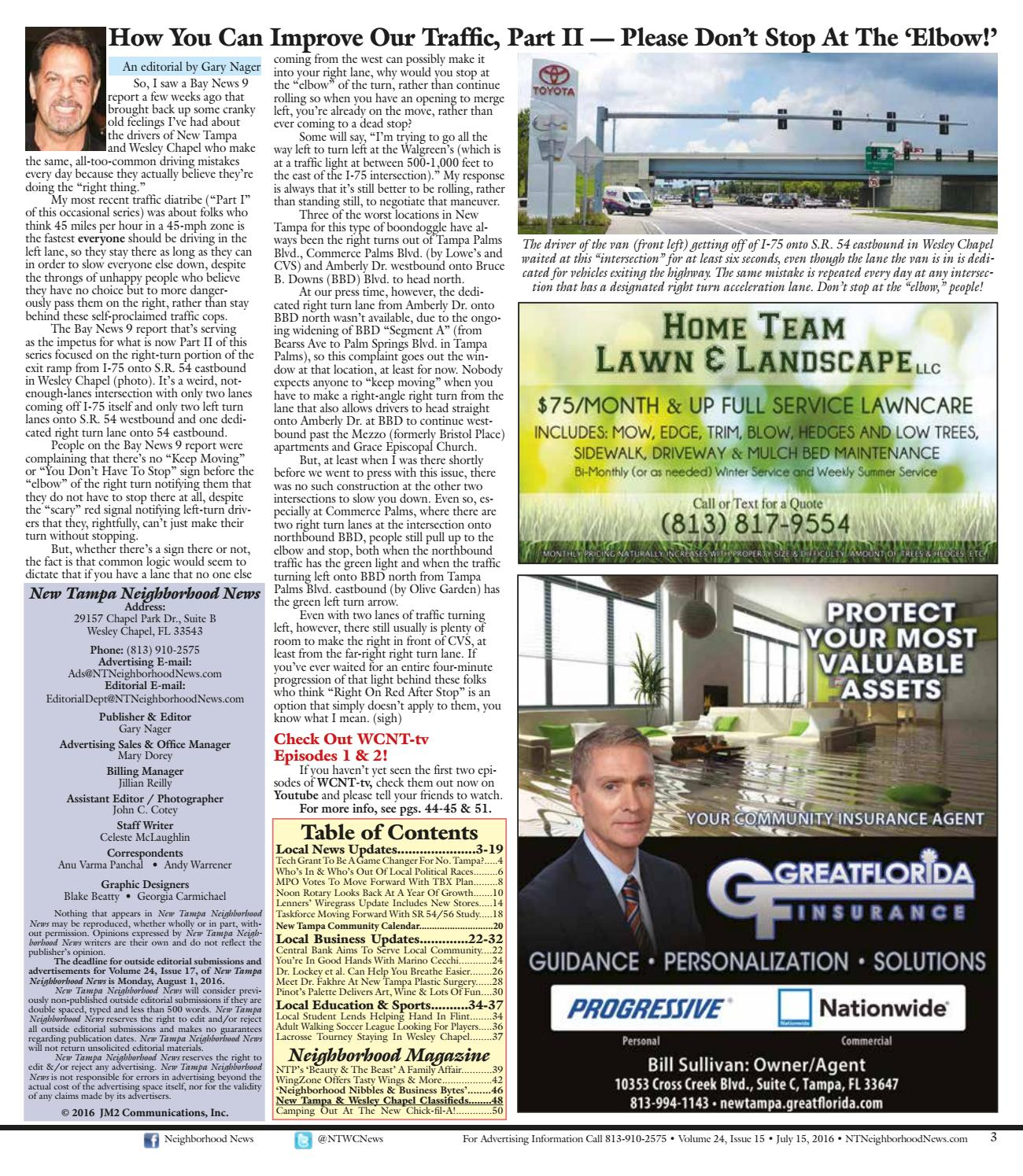 New Tampa Neighborhood News Volume 24 Issue 15 July 2016 By