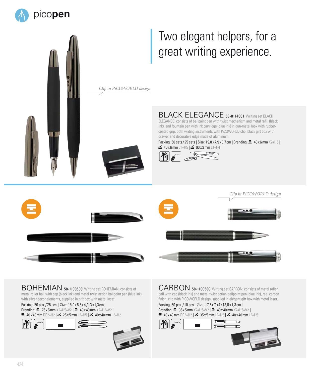 Carbon... Twist Action Metal Rollerball Roller /& Ballpoint Pen Gift Box Set