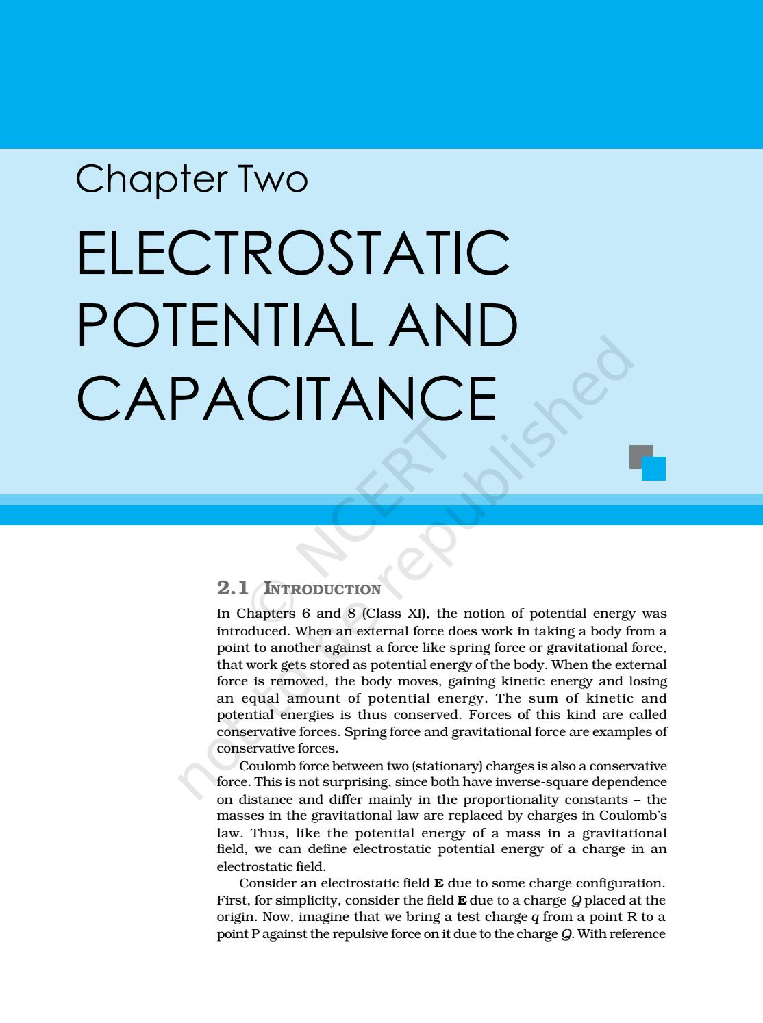 NCERT Electrostatic potential and capacitance by GSK - issuu