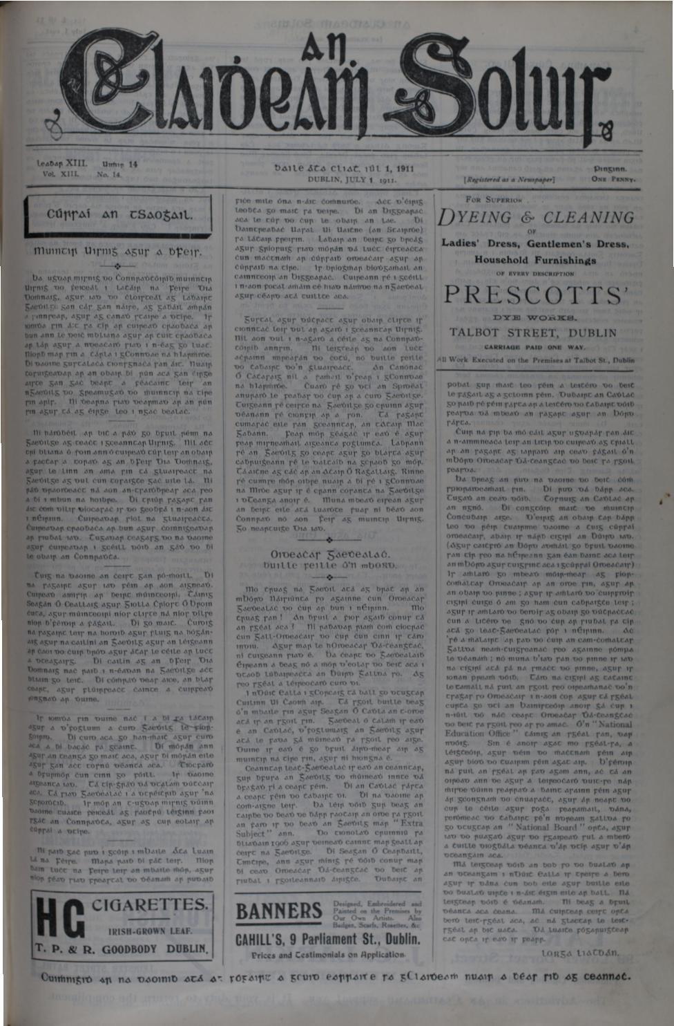 An Claidheamh Soluis Iil Nollaig 1911 by