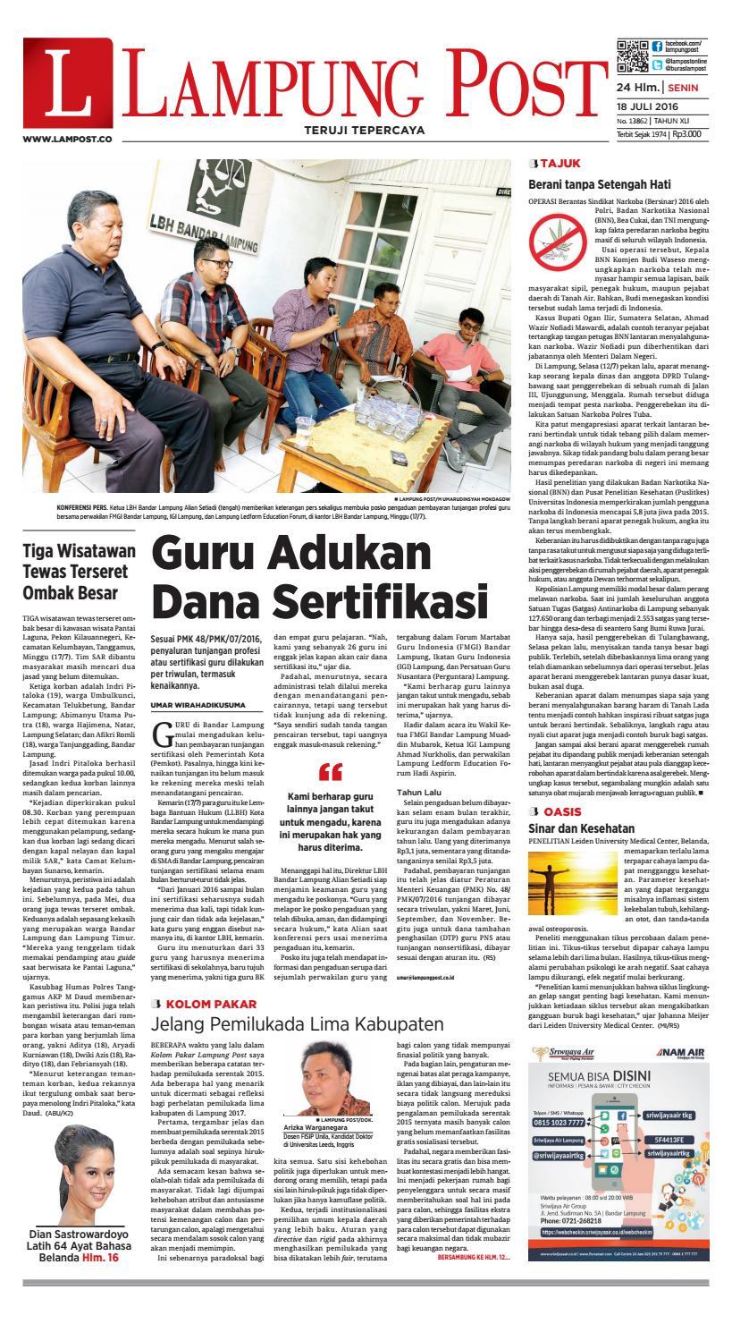 Lampung Post Senin 18 Juli 2016 By Issuu Kue Ulat Sutra Febby Cookies Pal