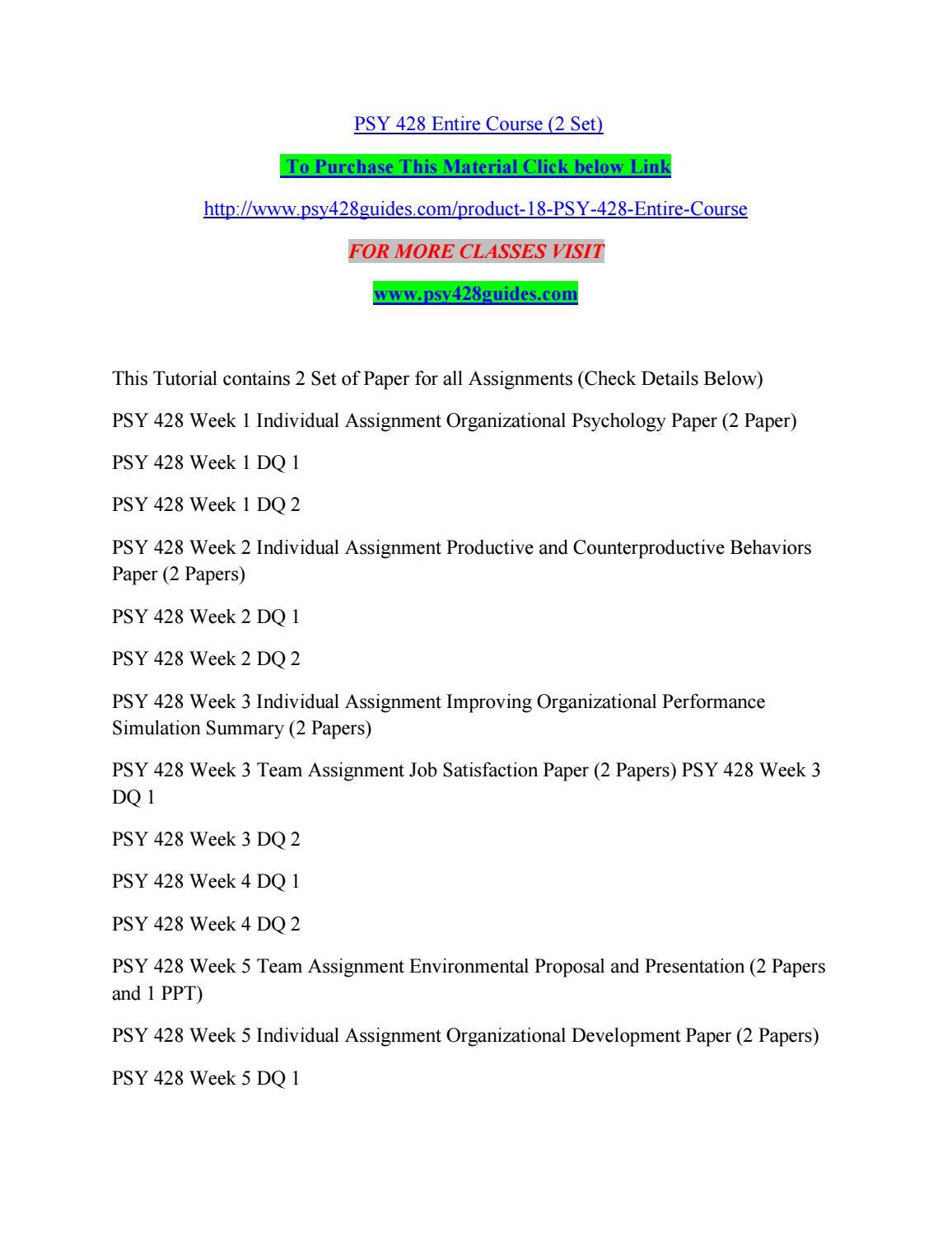 Psy 428 environmental proposal and presentation