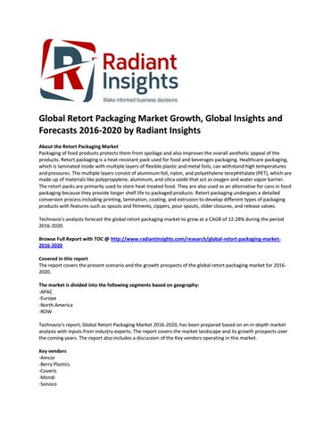 1566d3d4b00 Global Retort Packaging Market is Anticipated to Grow at a CAGR of 12.28%  by 2020