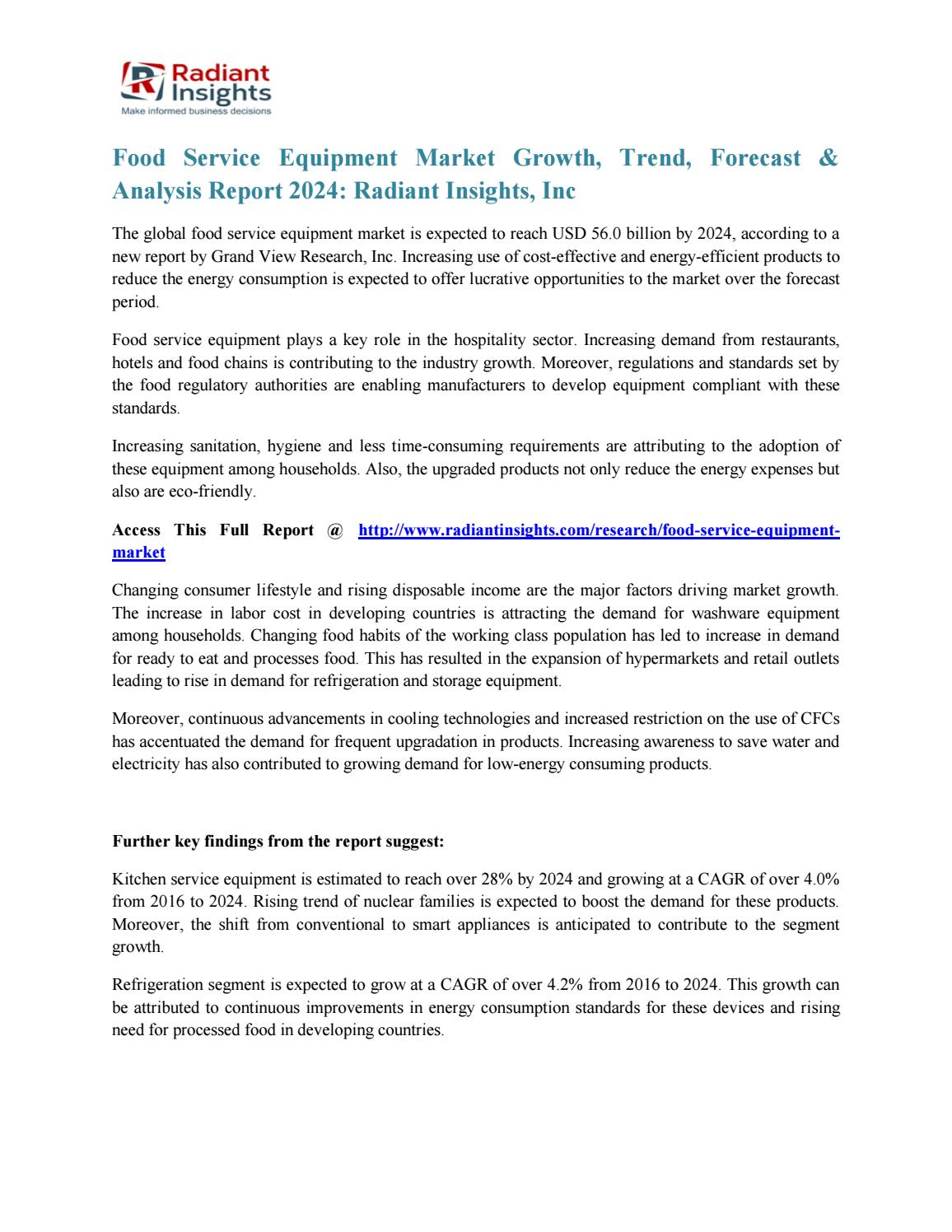 Food service equipment market growth, trend, forecast