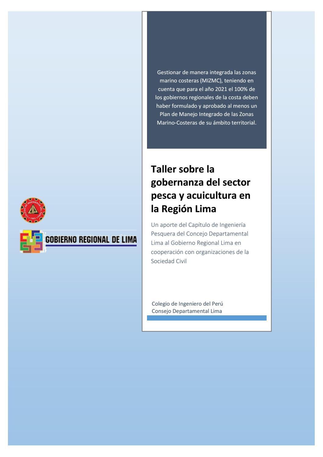 taller gobernanza region lima 30 31 mayo 2016 by gerencia