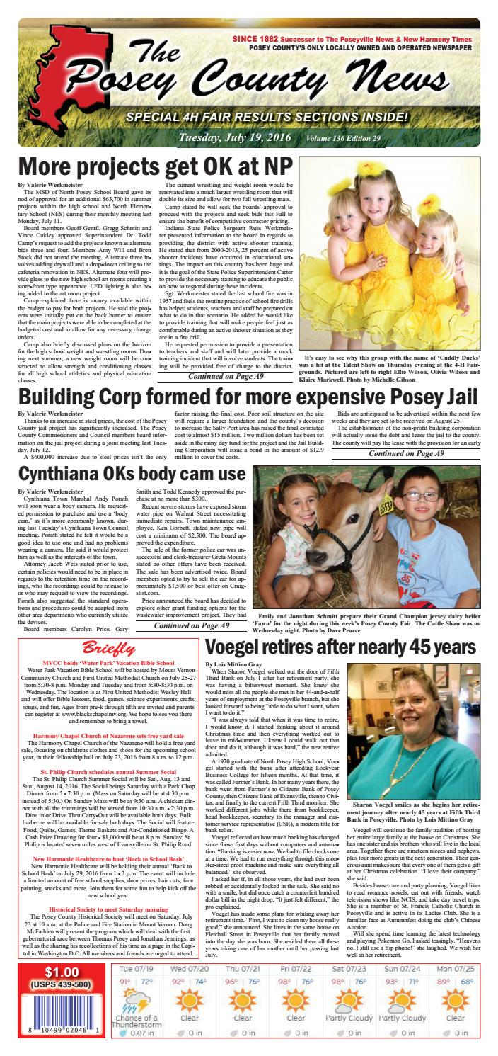 July 19 2016 The Posey County News By Issuu Tas Jacklyn Girl Accessories
