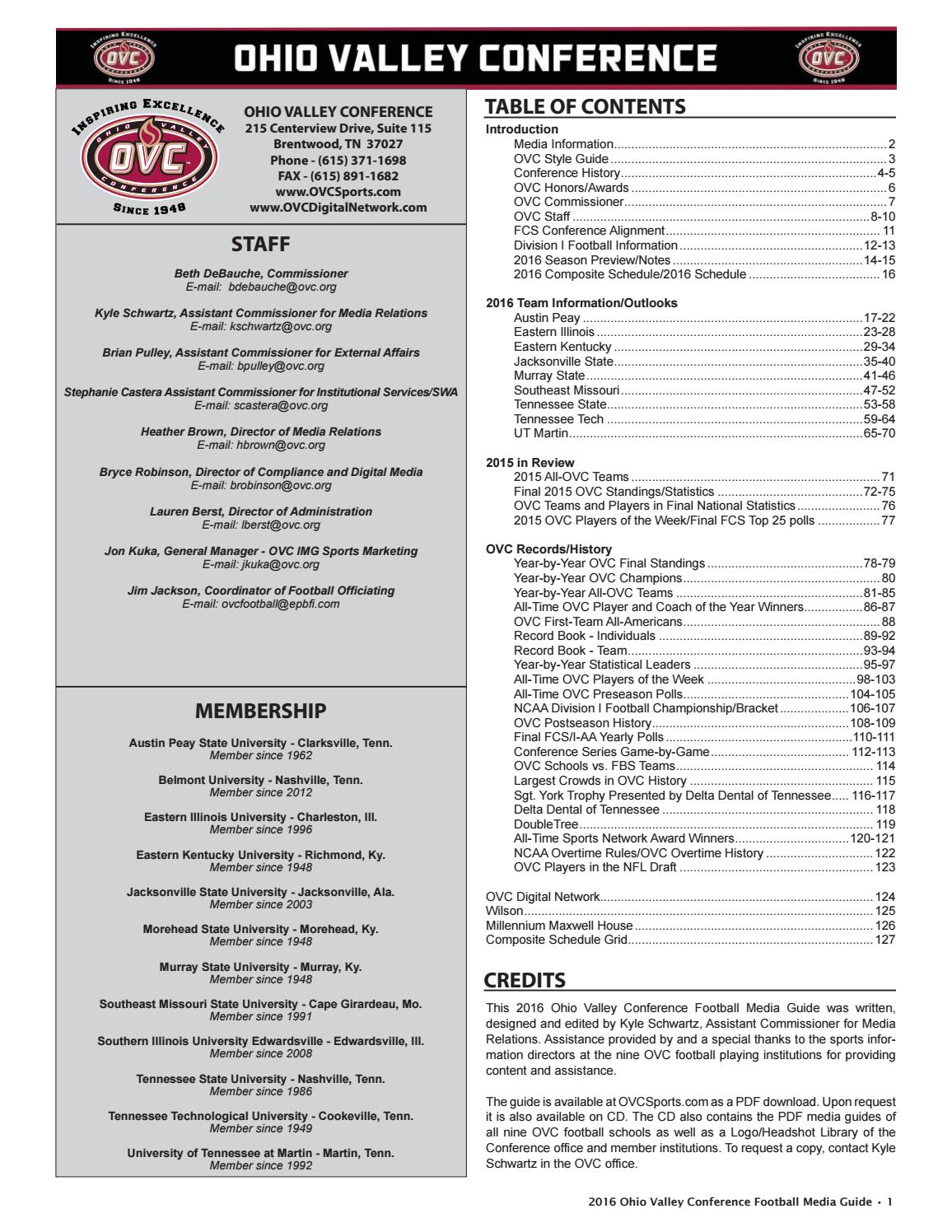 2016 Ohio Valley Conference Football Media Guide By Kyle Schwartz Prevost Bus Wiring Ac Fan Issuu