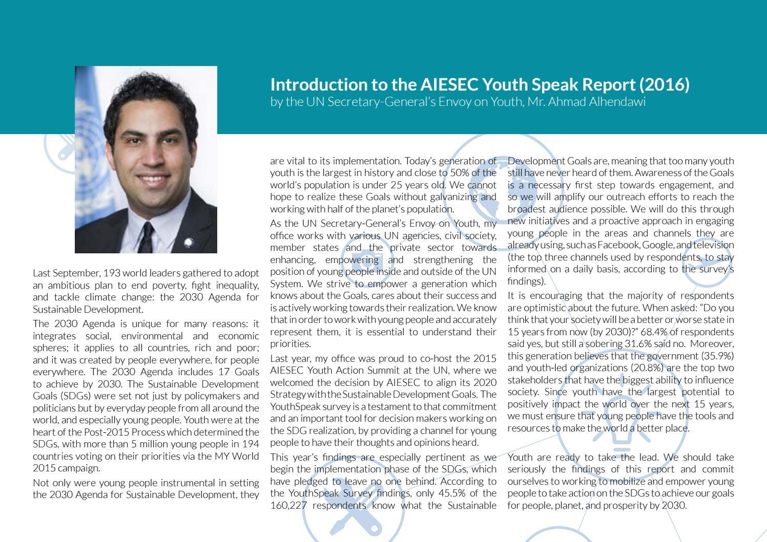 Ahmad Alhendawi youthspeak global report 2016aiesec international - issuu