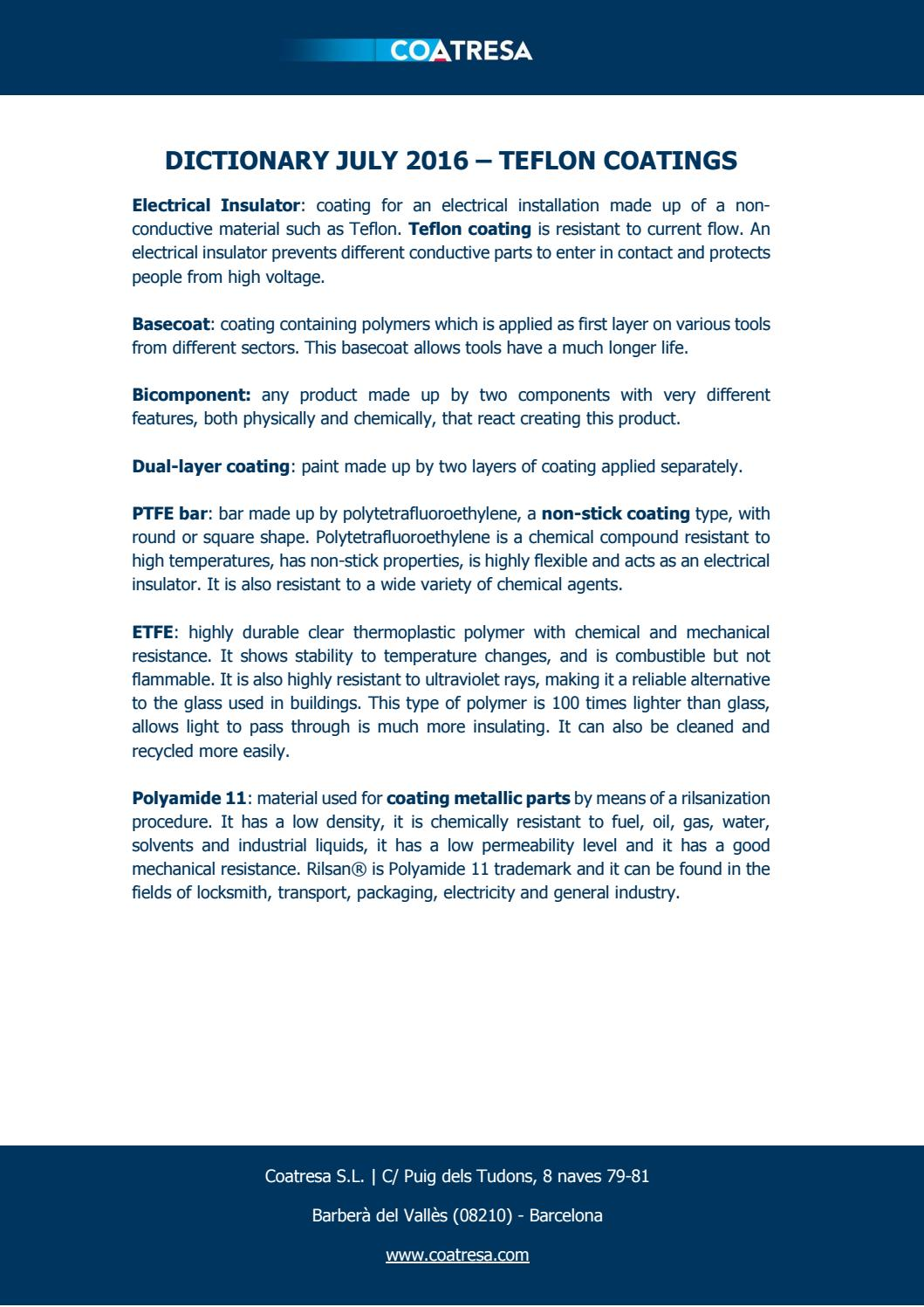 Dictionary july 2016 teflon coatings by Coatresa - Issuu
