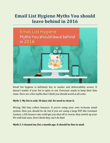 Email List Hygiene Myths You should leave behind in 2016 by