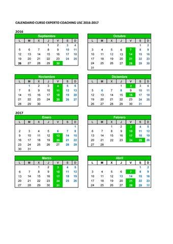 Usc Calendario.1 Calendario Curso Experto Coaching 2016 17 By
