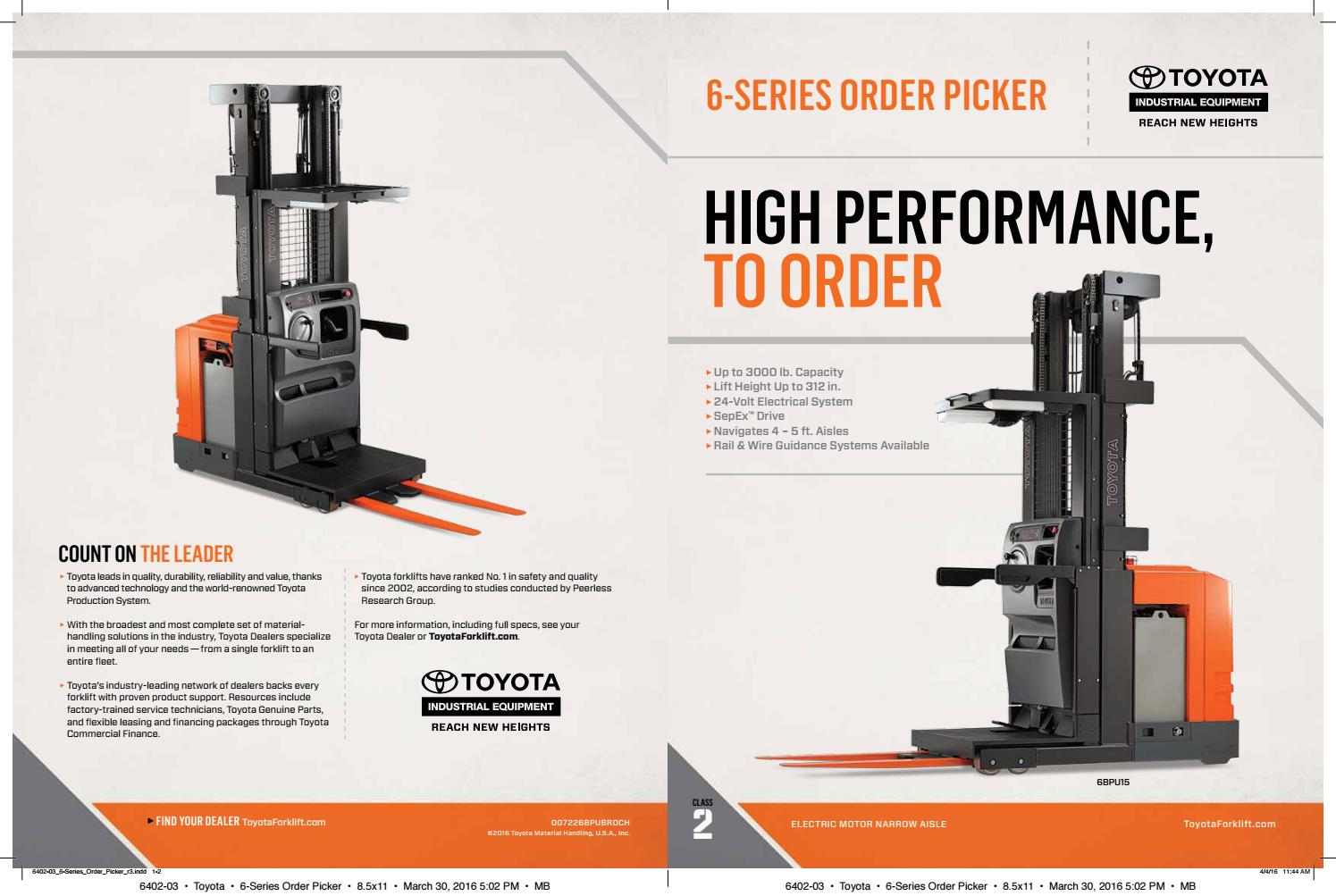 Toyota Forklift 6-Seires Order Picker Product Brochure by Toyota ...