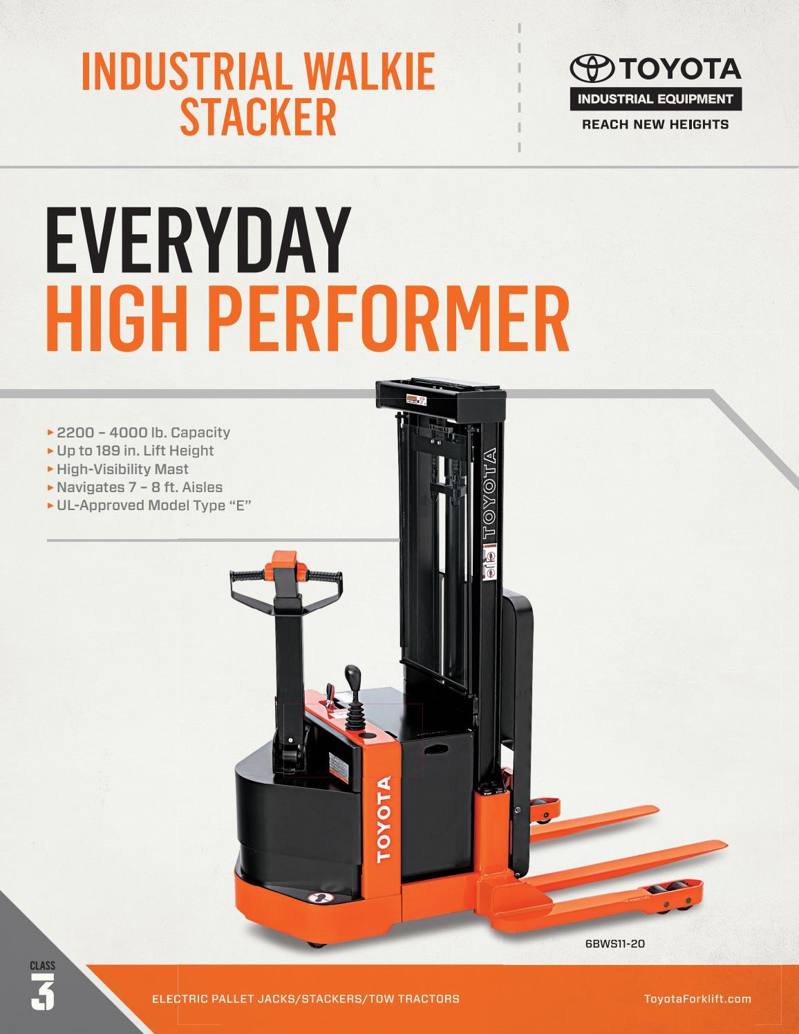 Toyota forklift industrial walkie stacker product brochure for Tow motor operator job description