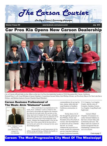 Car Pros Kia Carson >> The Carson Courier July 2016 By James Thomas Sr Issuu