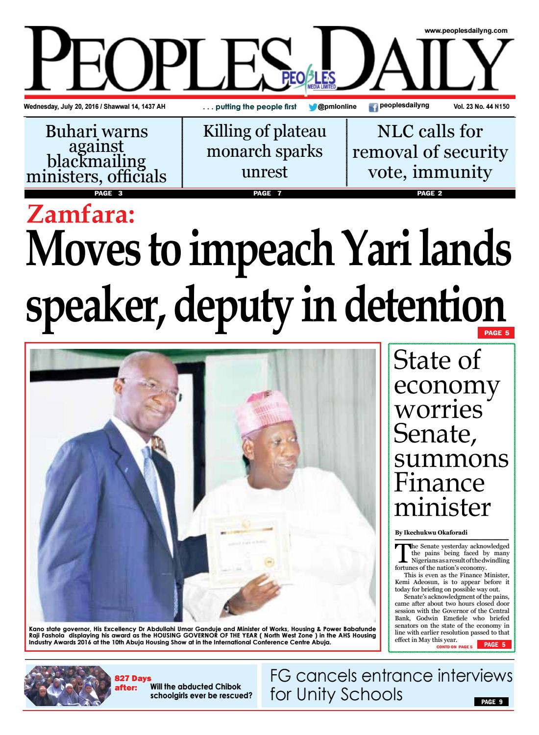 PEOPLES DAILY, WEDNESDAY, JULY 20, 2016  EDITION by Peoples