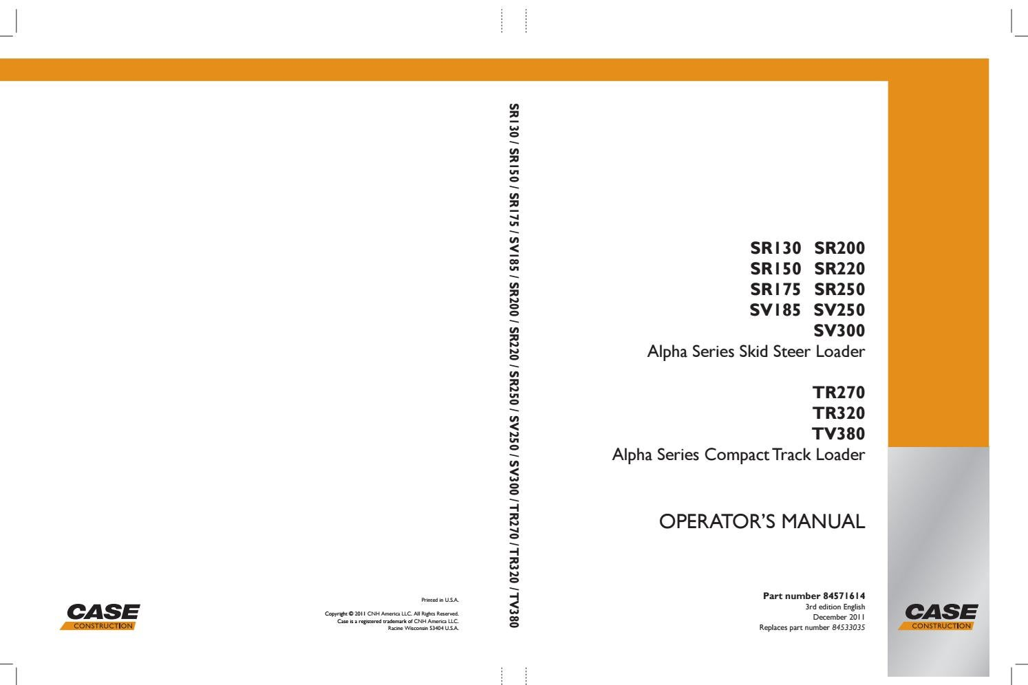 Operators manual : Alpha Series Skid Steer Loader and