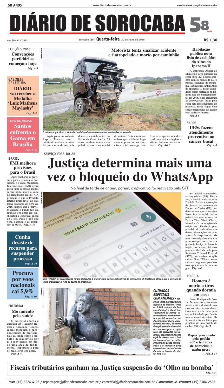 Edição de 20 de julho de 2016 by DIÁRIO DE SOROCABA - issuu 9d0b4b108462f