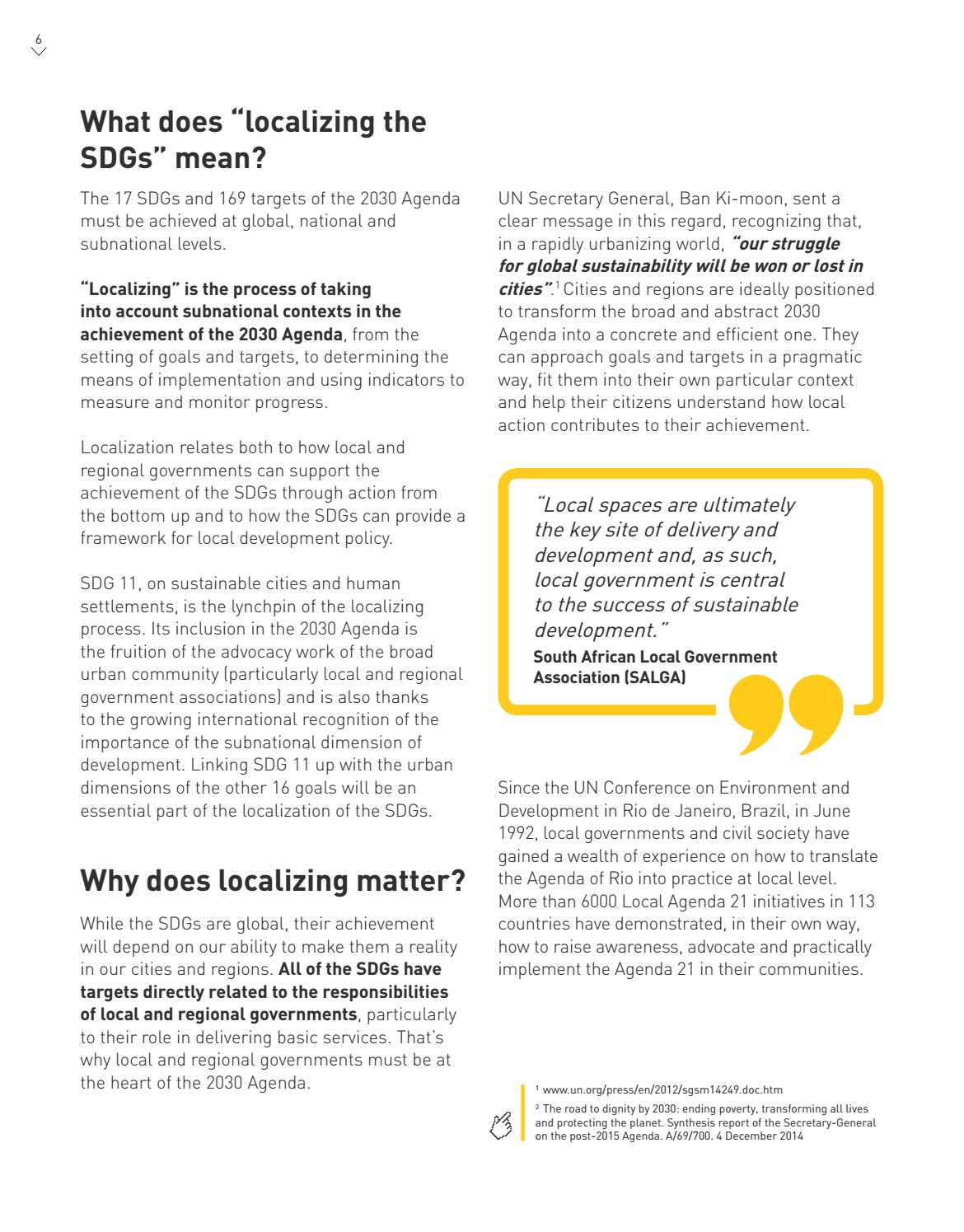 Roadmap For Localizing The SDGs Implementation And Monitoring At Subnational Level