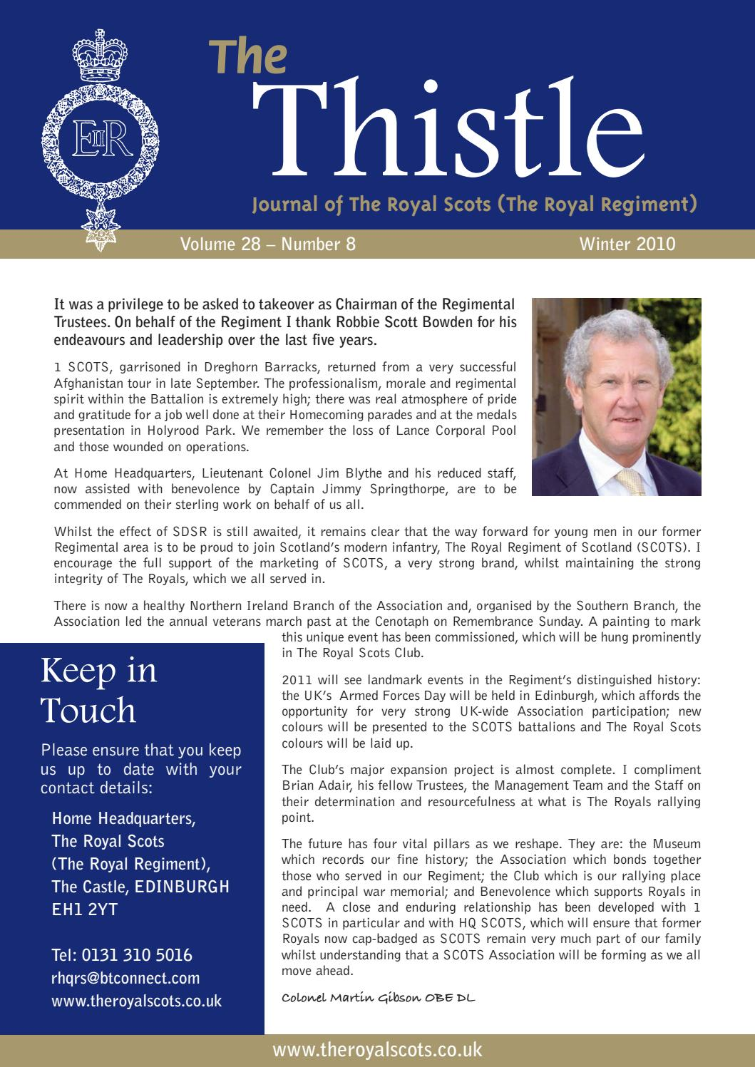 The thistle vol 28 no 8 winter 2010 by the royal scots issuu kristyandbryce Choice Image