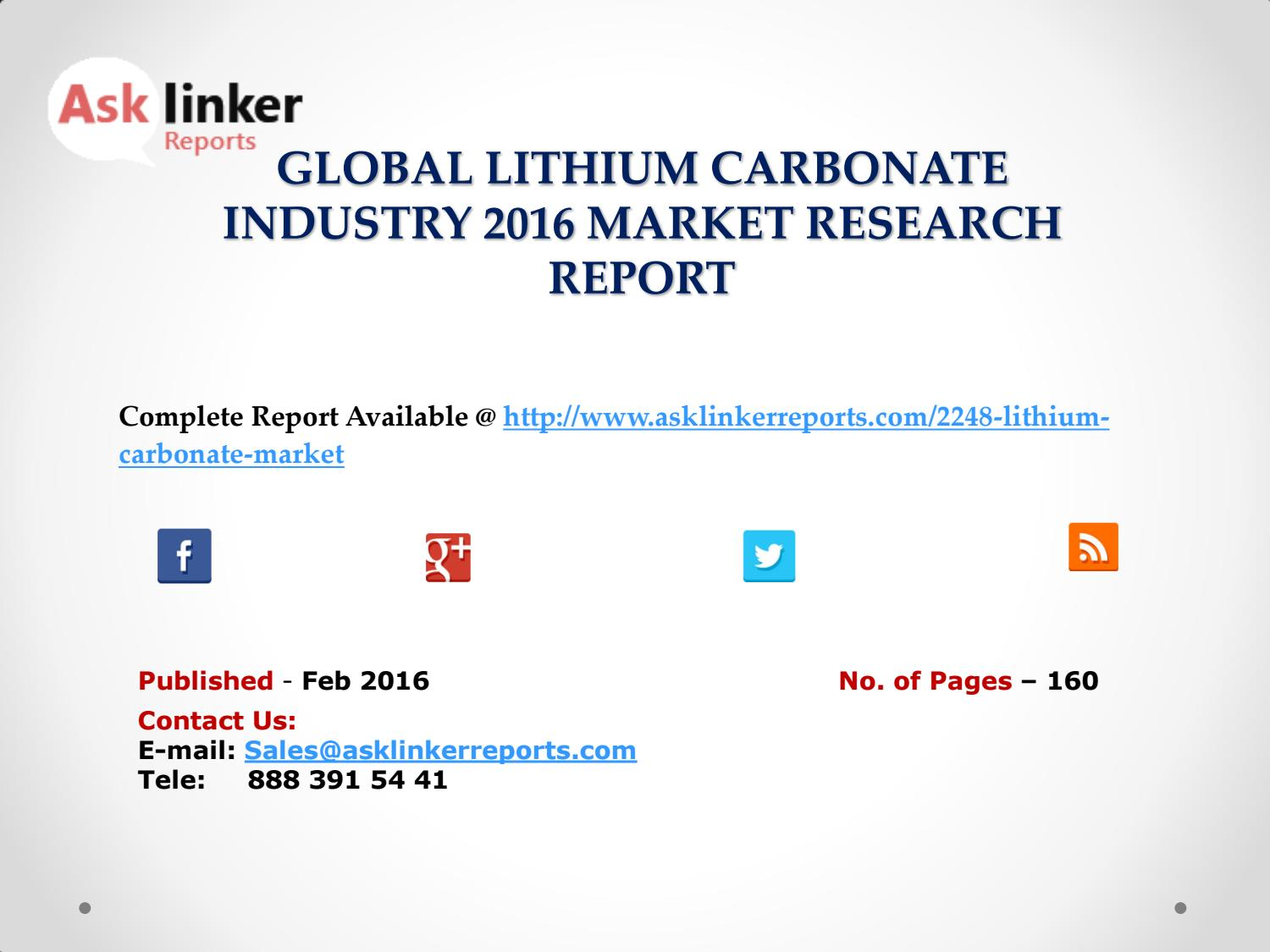 Lithium Carbonate Industry Production and Market share 2012