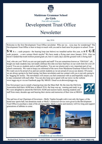 Development Trust Office Newsletter July 2016